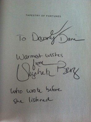 """Elizabeth wrote my name before I spelled it, hence the addition of """"who wrote before she listened"""" to the inscription."""